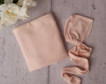 Blush Pink Newborn Waffle Texture Knit Stretch Wrap And Bonnet Hat Set, Wrap and Bonnet Set, Newborn Photo Props,  Blush Pink Newborn Photo