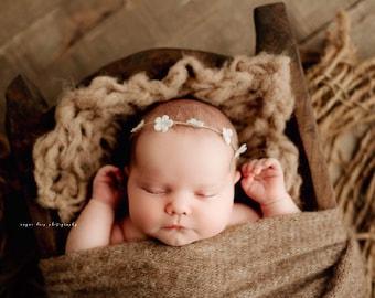 Ivory Petal Organic Jute Newborn Tieback/ Newborn Headband/ Newborn Photo Prop/ Photo Props/ Newborn Headbands/ Newborn Dainty Tieback
