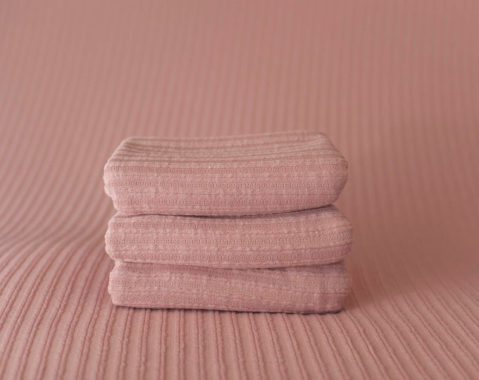 Antique Pink Ribbed Stretch Newborn Posing Fabric Set Newborn Photo Prop/ Pink Newborn Fringe Knit Wrap/ Pink Ribbed Newborn Photo Fabric