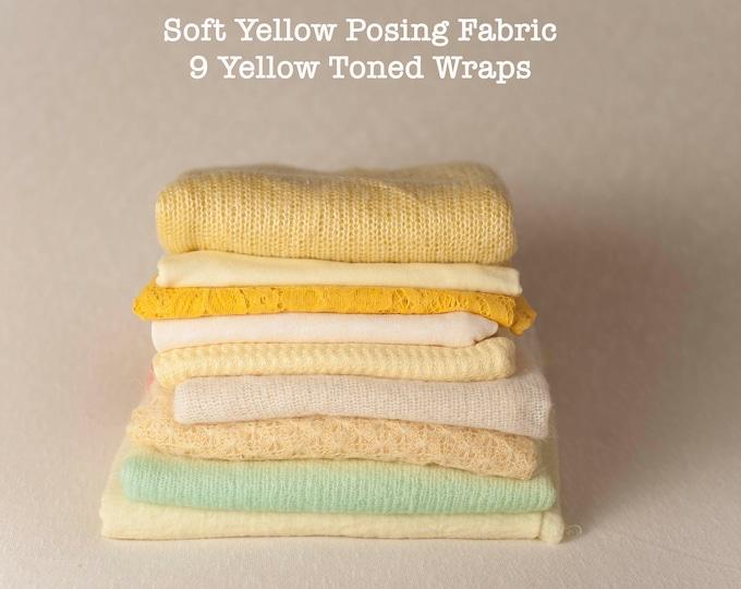 Destash, Soft Yellow Newborn Posing Fabric & Wraps Set, Yellow Newborn Backdrop, Fabric backdrop, Posing Fabric, Yellow Bean Bag
