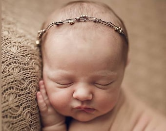 Beaded Gold & Copper Newborn Tieback/ Newborn Headband/ Newborn Photo Prop/ Photo Props/ Newborn Headbands/ Newborn Dainty Tieback/ Newborn