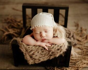 Cream Grid Texture Pom Raw Fringe Hem Newborn Girl Sleepy Cap Photography Prop