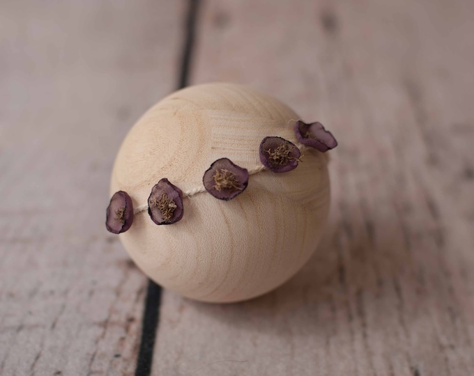 Eggplant Purple Rustic Newborn Tieback Headband/ Newborn Photo Prop/ Photo Props/ Newborn Headbands/ Newborn Flower Crown/ Newborn Halo/ RTS