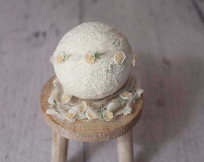 Ivory White Blossom Delicate Newborn Tieback/ Newborn Headband/ Newborn Photo Prop/ Photo Props Tieback/ Newborn Headbands/  Newborn Halo