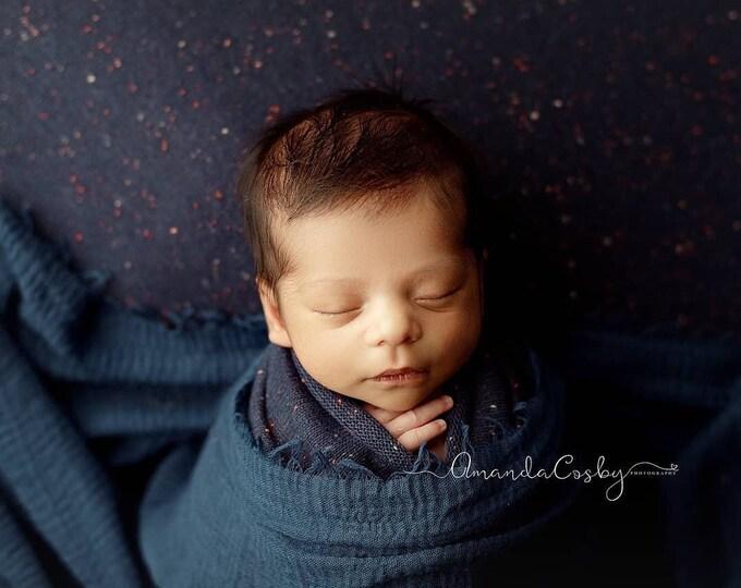 Starry Night Blue Speckled Neutral Texture Newborn Posing Fabric, Newborn Backdrop, Fabric backdrop, Posing Fabric, Dark Blue Bean Bag