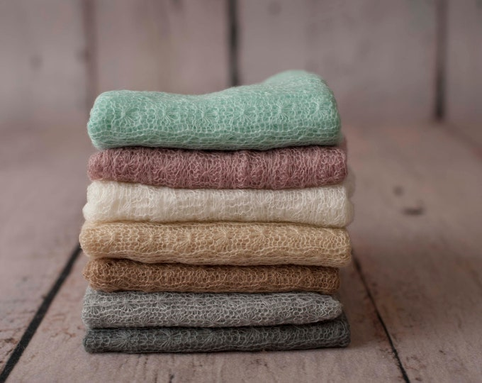 Stretchy Soft Knit Wrap Newborn Photo Prop/ Newborn Photography Prop/ Newborn Knit Wrap/ Knit Stretch Wrap/ Mohair Knit Wrap