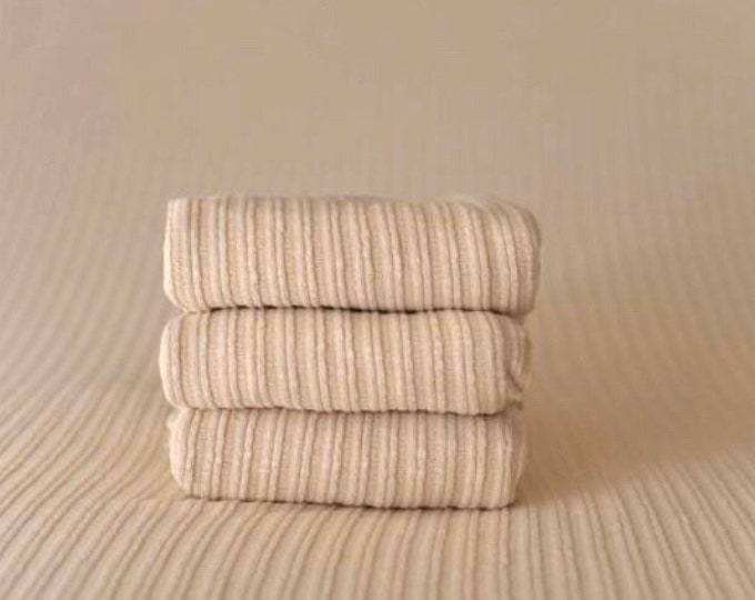 Tan Cream Ribbed Stretch Newborn Posing Fabric Set Newborn Photo Prop/ Cream Newborn Fringe Knit Wrap/ Tan Cream Ribbed Newborn Photo Fabric