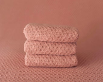 Pink Woven Sweater Scallop Teardrop Pattern Texture Newborn Posing Fabric Layer, Pink Backdrop, Pink Fabric backdrop, Pink Posing Fabric