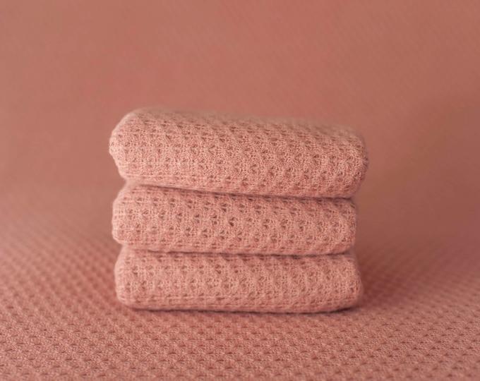 Pink Woven Sweater Scallop Teardrop Pattern Texture Newborn Posing Fabric Layer, Pink Backdrop, Pink Fabric backdrop, Pink Posing Fabric
