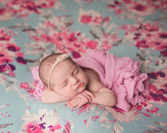 Blue Floral Newborn Posing Fabric, Floral Posing Fabric, Newborn Backdrop, Fabric backdrop, Posing Fabric, Bean Bag Blanket, Bean Bag Cover