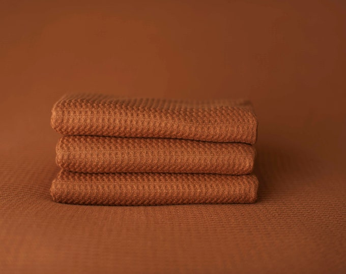 Copper Newborn Waffle Texture Grid Wrap Newborn Photo Prop, Newborn Fringe Knit Wrap, Knit Stretch Wrap, Grid Wrap, Burnt Orange Fabric