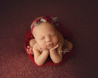 Cranberry Sauce Deep Red Texture Newborn Posing Fabric, Cranberry Newborn Backdrop, Red Fabric backdrop, Posing Fabric, Red Bean Bag Blank