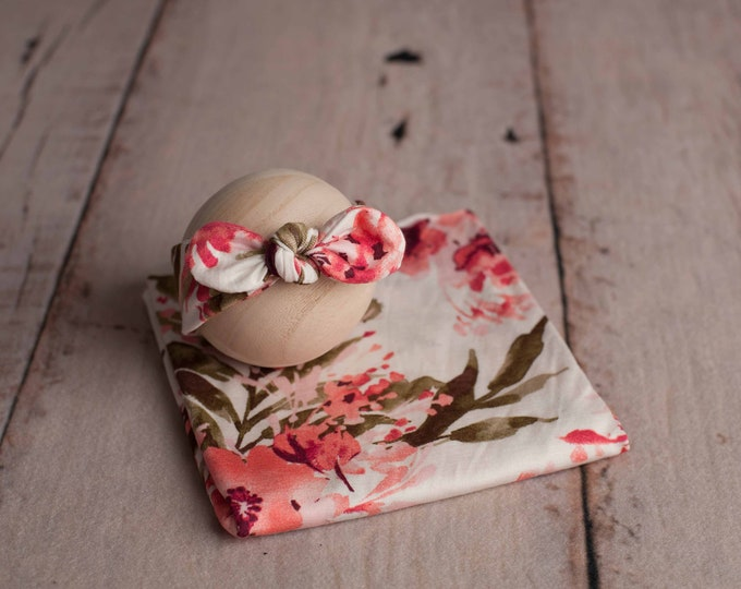 Newborn Headband/ Floral Stretch Wrap/ Stretch Wrap/ Newborn Wrap Set/ Stretch Newborn Wrap/ Newborn Photo Prop/ Newborn Photography/ Baby