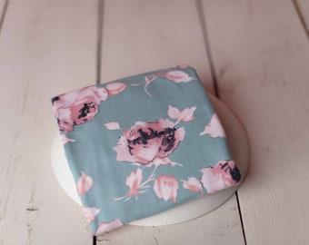 Mint Floral Stretch Newborn Wrap/ Clearance