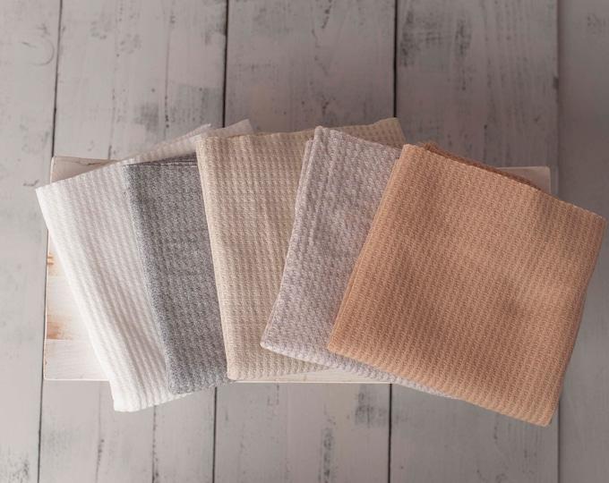 Neutral Newborn Waffle Knit Stretch Fringe Wrap, Neutral Newborn Texture Wrap, Stretch Knit Wrap , Newborn Photo Props, Newborn Wrap