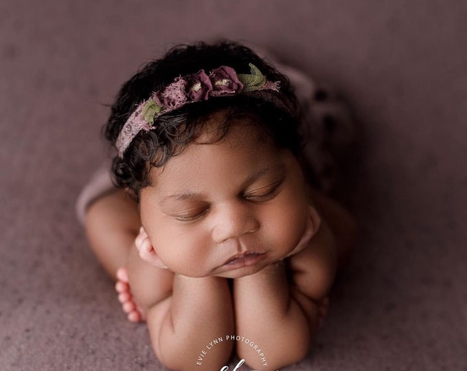 Lavender Purple Newborn Tieback, Purple Floral Tieback, Newborn Headband, Newborn Photography Photo Prop , Purple Tieback, Lavender Tieback