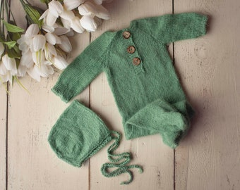 Green Sidney Sleeper Fuzzy Knitted Footed  Newborn Romper for Newborn Photography, Green Soft Knit Romper and Bonnet Newborn Out Set