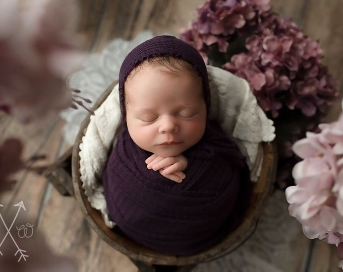 Eggplant Purple Newborn Waffle Texture Knit Stretch Fringe Wrap And Bonnet Hat Set, Sleepy Cap Set, Newborn Photo Props, Newborn Photo