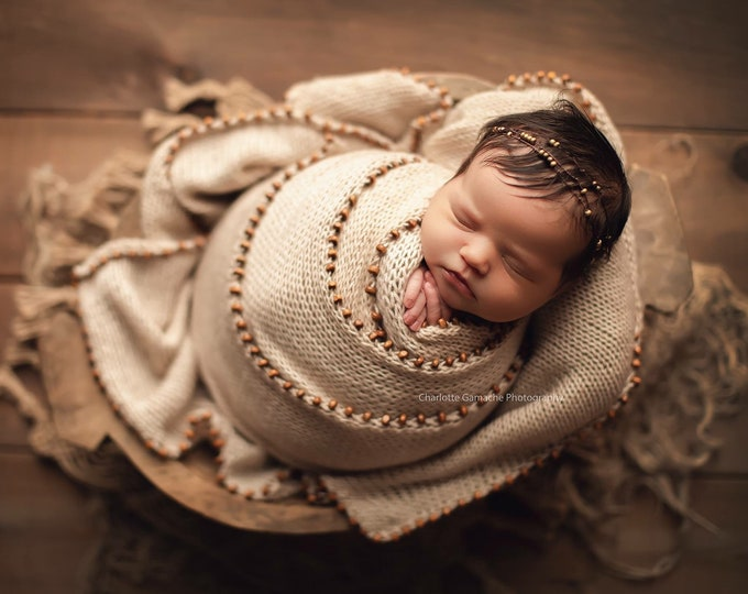 Beaded Gold & Copper Newborn Tieback/ Newborn Headband/ Newborn Photo Prop/ Photo Props/ Newborn Headbands/ Newborn Dainty Tieback/ Newborn