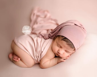 Hemless Stretch Knit Newborn Sleepy Cap Set, Newborn hat, Knot Hat , Newborn Sleepy Cap, Newborn Wrap, Newborn Sleepy Cap, Newborn cap