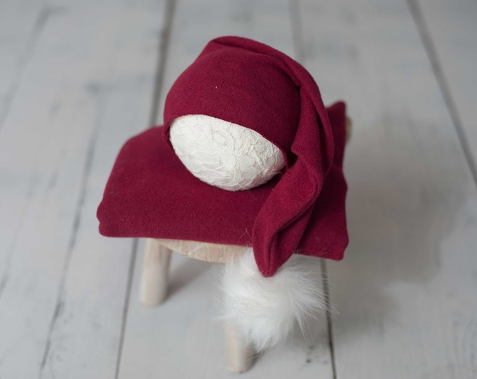 Deep Red Christmas Holiday Stretch Sweater Raw Hem Knit Pom Pom Newborn Sleepy Cap and Matching Wrap Set, Christmas Wrap and Hat Set