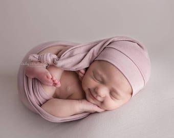 Newborn Wrap Set, newborn photo wrap, newborn wrap, newborn photography prop, newborn photo prop, newborn wrap prop, baby hat, stretch wrap