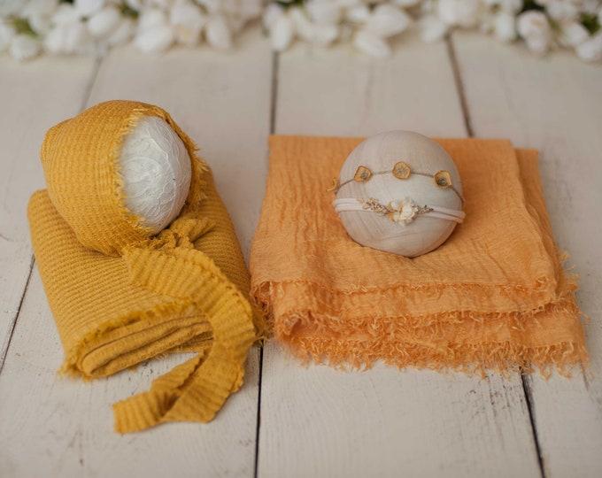 Mustard Yellow BUNDLE Texture Newborn Wrap, Bonnet, Headband & Tieback Set