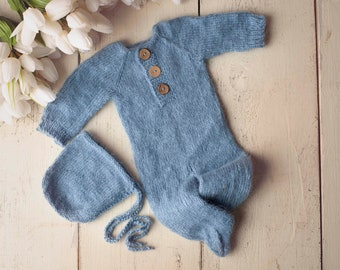 Blue Sidney Sleeper Fuzzy Knitted Footed  Newborn Romper for Newborn Photography, Blue Soft Knit Romper and Bonnet Newborn Out Set