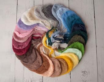 Mohair Newborn Bonnets/ Delicate Mohair Hat/ Newborn Photography Prop/ Mohair Bonnet/ Knit Newborn Bonnet Hat