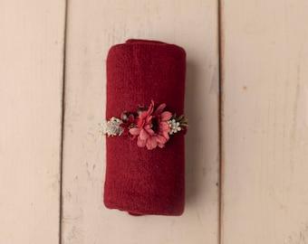 Wine Red Newborn Tieback, Pink Floral Tieback, Newborn Headband, Newborn Photography Photo Prop , Red Floral Tieback, Red Wrap Tieback