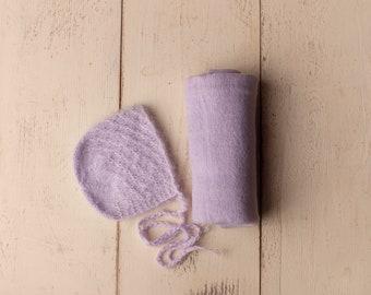 Lilac Purple Cashmere Mohair Bonnet and Stretch Sweater Wrap Newborn Photography Set