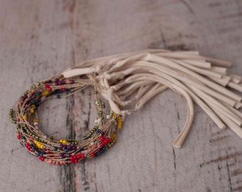 Beaded Jute String Newborn Dainty Rustic Tieback Headband Photo Prop