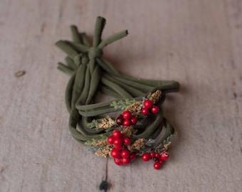 Green Holly Berry Christmas Festive Holiday Newborn Jersey Stretch Tieback Headband Photo Prop