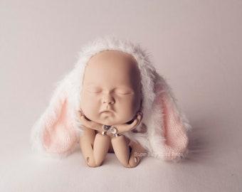 Newborn Knit Bunny Bonnet, Newborn Easter Bonnet, Newborn Spring Bunny Bonnet Photography Prop