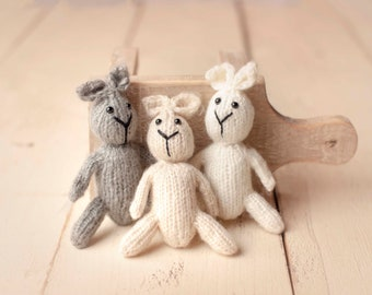 Mini Bunny Toy Prop for Newborn Photography, Baby Bunny Toy, Newborn Photo Prop Toy