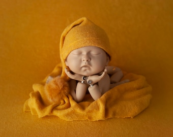 ALEX- Mustard Yellow Smooth, Soft and Stretchy Newborn Posing Fabric, Wrap, and Sleepy Cap Sets, Mustard Yellow Coordinating Newborn Set