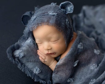 Country Blue Coordinating Set With Wrap, Pillow, Ear Hat, and Rabbit Fur, Blue Newborn Photography Coordinating Prop Set