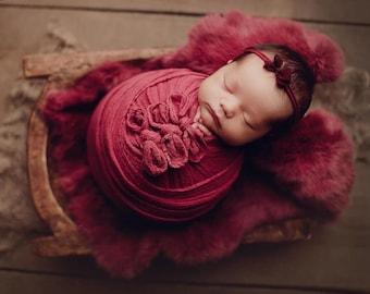 Jam Red Natural Dyed Fur Newborn Posing Photography Prop, Red Jam Newborn Fur Prop, Newborn Basket Filler Prop, Jam Posing Fur Prop, Newborn