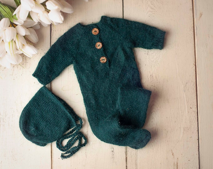 Emerald Green Sidney Sleeper Fuzzy Knitted Footed  Newborn Romper for Newborn Photography, Green Soft Knit Romper and Bonnet Newborn Out Set