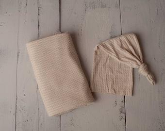 Tan Newborn Waffle Knit Stretch Wrap And Unhemmed Raw Edge Hat Set/ Tan Newborn Texture Stretch Knit Wrap/ Tan Newborn Photo Props