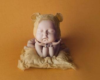 Yellow Coordinating Bonnet and Pillow Set, Yellow Pillow, Yellow Ear Hat, Yellow Newborn Photography Coordinating Prop Set