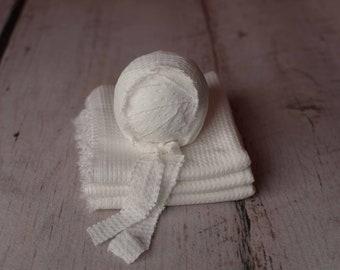 Ivory Newborn Waffle Texture Knit Stretch Fringe Wrap And Bonnet Hat Set, Newborn Photo Props, Newborn Photo
