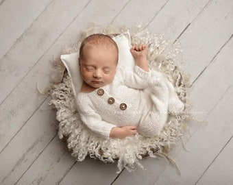 Ivory Off White Sidney Sleeper Fuzzy Knitted Footed  Newborn Romper for Newborn Photography, Soft Knit Romper and Bonnet Newborn Out Set
