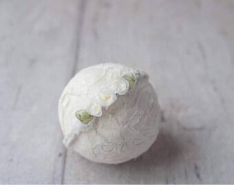 Ivory Floral Newborn Tieback, Ivory Floral Tieback, Newborn Headband, Newborn Photography Photo Prop , Ivory Tieback, Off white Tieback