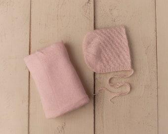 Soft Pink Cashmere Mohair Bonnet and Stretch Sweater Wrap Newborn Photography Set
