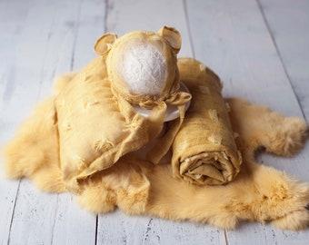 Golden Yellow  Coordinating Set With Wrap, Pillow, Ear Hat, and Rabbit Fur, Golden Yellow Newborn Photography Coordinating Prop Set