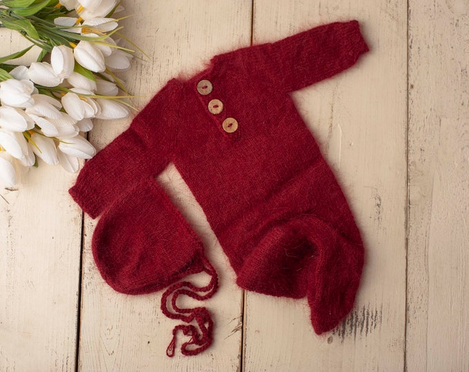 Red Sidney Sleeper Fuzzy Knitted Footed  Newborn Romper for Newborn Photography, Red Knit Romper and Bonnet Newborn Out Set