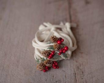 Christmas Holiday Newborn Jersey Stretch Tieback Headband Photo Prop