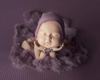 Heather Purple Newborn Waffle Texture Grid Posing Fabric and Fur Set, Purple Newborn Fringe Knit Wrap/ Grid Wrap/ Heather Newborn Swaddle