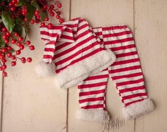 Christmas Santa Hat and Pants Set, Newborn Photography Christmas Pom Sleepy Cap and Red and White Striped Pants